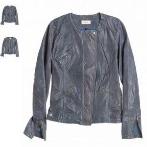 Chloe Washed (washable!) Leather Jacket Slate Blue